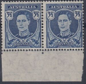 3½ Blue KGVI pair on Translucent Paper. Pair from bottom of sheet. BW 231a