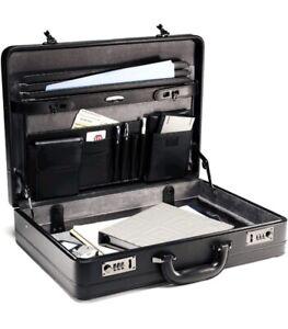 SAMSONITE Expandable LEATHER Attache Briefcase BLACK!NEW OPEN BOX! 43115-1041