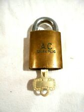 Vintage HTF AC Spark Plug Brass Padlock w/ Original Key