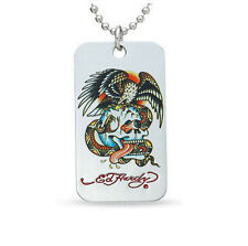 ED HARDY BATTLE EAGLE SKULL DOG TAG PENDANT  NECKLACE
