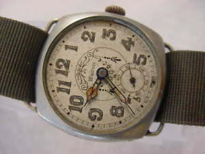 Vintage large antique WWI World War I MILITARY WINDSOR CUSHION TRENCH mens watch