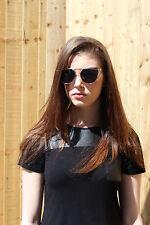 Luxury Oversized Celebrity Black Gold Mirrored Cat Eye Designer Sunglasses Vinta