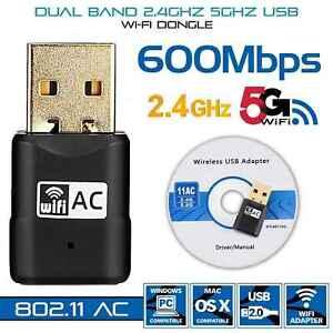 2.4/5G 600M USB Wifi Adapter WLAN Stick Wireless Dongle DualBand für PC Laptop