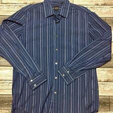 Hugo Boss Striped Button Front Shirt Men's Size L Blue 100% Cotton