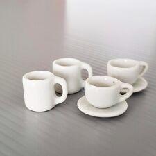 4 White Coffee Tea Cup Mug Saucers Plate Dollhouse Miniatures Tableware Set Mix