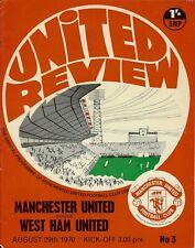 Manchester United v West Ham United 29th Aug 1970 Division 1