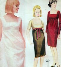 """Vintage 60s Mod EVENING DRESS Sewing Pattern Bust 34"""" RETRO Party EMPIRE LINE"""