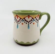 CATALINA by Vida Eva Mendes Espana Large Handpainted White Green Dots Coffee Mug