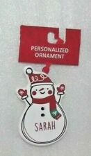 "SARAH Name Holiday Christmas Tree Ornament Snowman Keepsake Porcelain 3 1/2"" NEW"