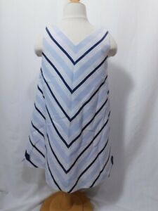 LULI & ME Girls Blue & White Striped Linen Cotton V-Neck Sleeveless Dress Sz 6