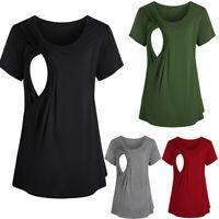 Women Pregnant Maternity Nursing Short Sleeve Tops Breastfeeding Shirt Blouse UK