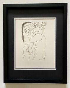 """Pablo Picasso """" La Gout Du Bonheur"""" Original Lithograph in Velin Arches Framed"""