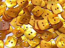 B150 Gold Yellow Mother of Pearl Square Shell Buttons Sewing Craft 15mm 30pcs
