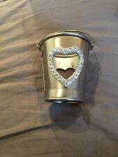 Sliver Tin Tee Light Candle Holder With Heart Stone Design