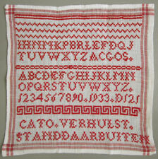 1933 VINTAGE DUTCH RED ALPHABET SAMPLER NUMBERS BORDERS CROSS STITCH