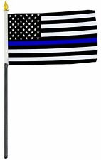 "4""x6"" Police Memorial Thin Blue Line  Miniature Desk & Table Flags Flag"