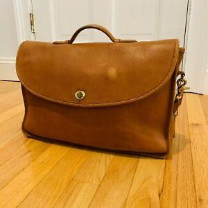 Vintage Coach 5265 British Tan Leather Lexington Briefcase Messenger Bag