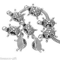 20 PCs Turtle Charms Beads Fit European Charm Bracelet