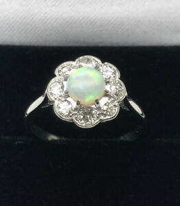 Platinum .40ct Diamond & Colourful Opal Daisy Flower Cluster Ring Size L 1/2