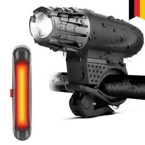 Fahrrad Beleuchtungsset Frontleuchte Rücklicht Set LED Sicherheitslampe USB Neu