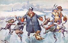 Schlittschuhläufer mit Hund, sign. Arthur Thiele