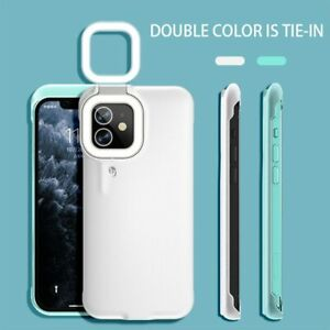 Square LED Flash Fill Light Selfie Phone Case For iPhone 12 11 Pro XS Max XR 7 8