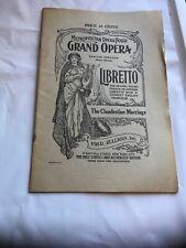 Metropolitan Opera House Grand Opera Libretto Clandestine Marriage, Fred Rullman