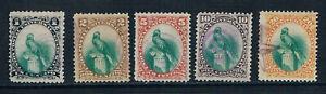 Guatemala 1881 Resplendent Quetzal new currency o/FU SG 21-25