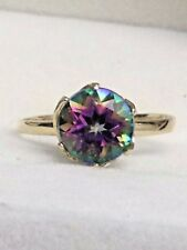 10K SOLID YELLOW GOLD 1.60 CARAT MYSTIC TOPAZ SOLITAIRE RING