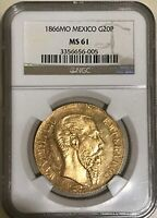 Mexico: Maximilian gold 20 Pesos 1866-Mo MS61 NGC Gold Coin Rare MS 61 Imperial