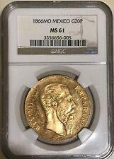 Mexico: Maximilian gold 20 Pesos 1866-Mo MS61 NGC Gold Coin Rare MS 61 Imperial