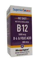 No Shot Methylcobalamin B12 5000 mcg/B6/Folic Acid 800mcg Superior Source 60 Sub