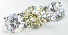 1,5ct CANARIO 3 anillo con piedra brillante VINTAGE RUSO Calidad