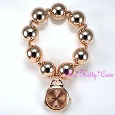 Diseñador de Rose Oro Plateado Grande Grueso Bola cuentas Boho Puño encanto pulsera reloj