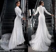 Vintage Muslim Wedding Dress High Neck Long Sleeve Bridal Gowns Sweep Train 2016