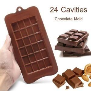 24 Grid Square Chocolate Candy Mold Bar Block Ice Silicone Sugar Cake Bake Deco