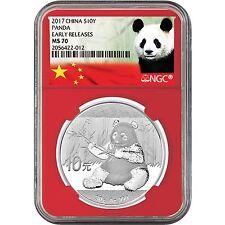 2017 China Silver Panda 30g MS70 ER NGC Red Core Panda Label