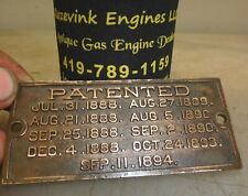 OTTO PATENT ORIGINAL CAST BRASS NAME TAG for Old Hit and Miss Gas Engine
