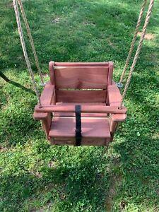Toddler Swing Cedar Wood Toddler Swing 10 Feet of Rope Each Side