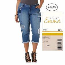 SIMPLY EMMA NEW Americana Ripped Patch Stretch Crop Jeans 20W L23 QCO