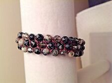 AUTHENTIC Chan Luu MARBLE Tone Faceted Stones & Crystals Pull Tie Bracelet CL2c