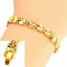 24k Yellow Gold Womens Bracelet Linked Hearts Chain 10mm Wide W Gift Pkg D741