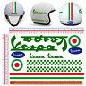 Vespa pvc verde adesivi casco  italia flag sticker helmet cropped green 11 pz.