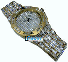 NEW YELLOW GOLD FINISH MENS ICED OUT CZ Ultra BLING MASTER CUSTOM SWISS WATCH