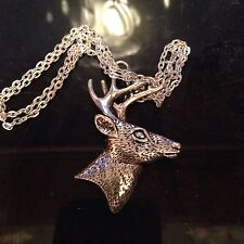Large Heavy  Stag Deer Head Antlers Necklace