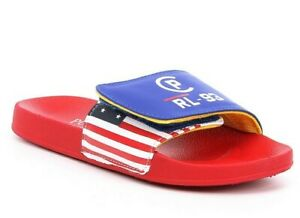 Polo Ralph Lauren Leary Youth Slides Flip Flops Size:7 Blue/Red *New* Big Kids