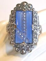 ART DECO BLUE CHALCEDONY COLORED PRESSED MOLDED ART GLASS PIECE FAUX MARCASITES