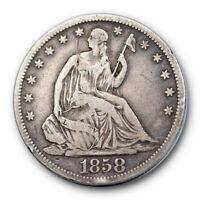 1858 S 50C Seated Liberty Half Dollar Fine F San Francisco Mint #7853