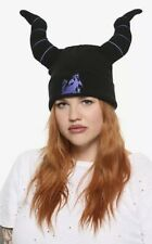 Disney Sleeping Beauty Maleficent Horns Embroidered Dragon Beanie Knit Hat