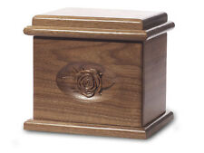 Wood Cremation Urn. Deluxe model with a Black Walnut Finish with Rose Image